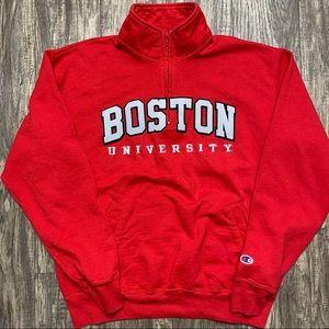 Vintage Champion Boston University Red 1/4 Zip Pullover Fleece Sweatshirt Large